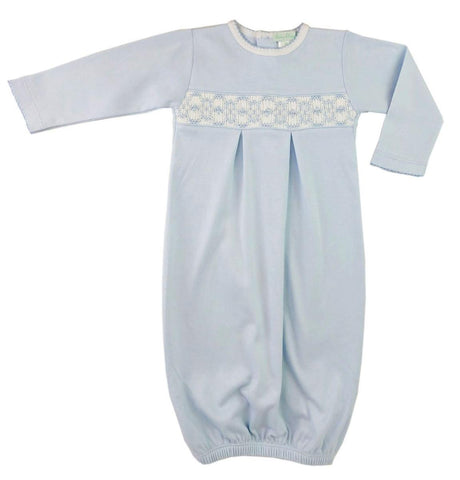 Baby Threads Blue Hand Smocked Gown