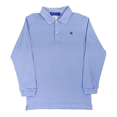 Bailey Boys Long Sleeve Polo, Sky Blue