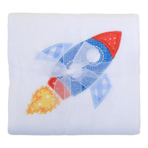 3 Martha's Rocket Appliqued Burp Cloth