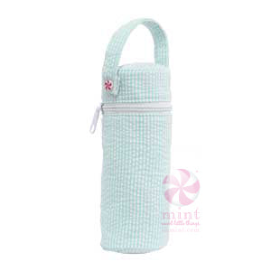 Mint Seersucker Bottle Bag