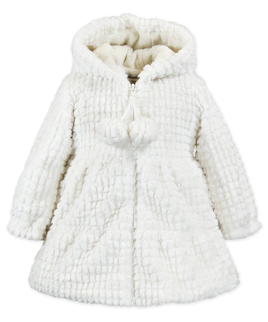 Widgeons Hooded Swing Coat Ivory Waffles