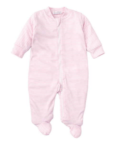 Kissy Kissy Pink Simple Stripes Zip Footie