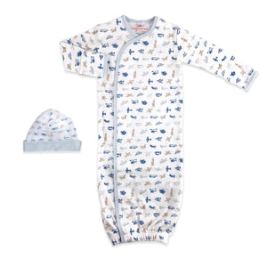 Magnetic Airplanes Cotton Gown and Hat