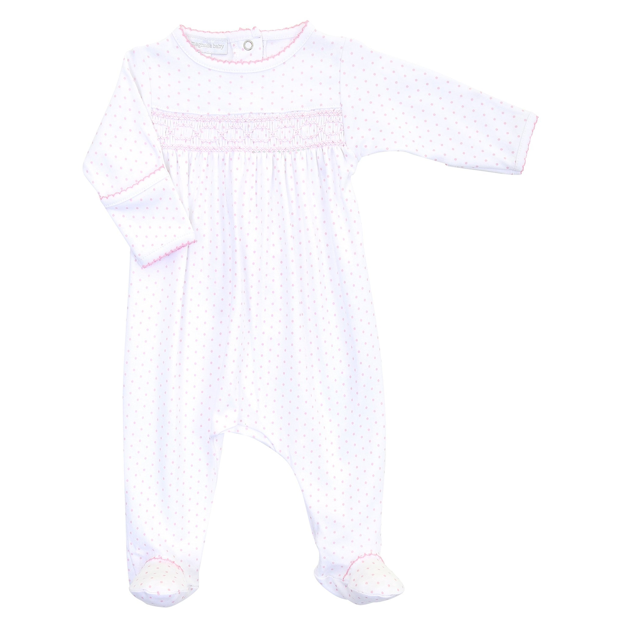 Magnolia Baby Mini Dot Essentials Smocked Footie