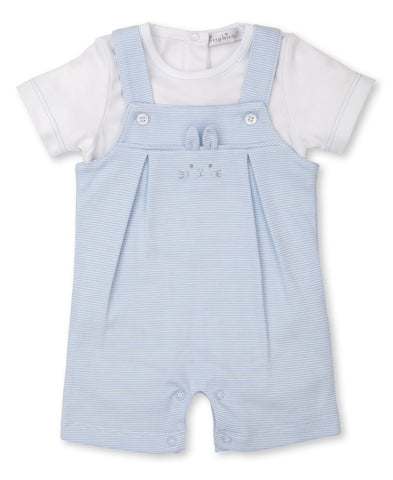 Kissy Kissy Bunny Short Overall Set, Light blue/ White