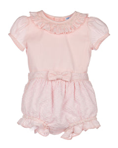 Luli and Me Blush Embroidery Baby Set, Pink