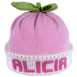 Personalized Knit Hat – Sweet Pea Pink with White Band