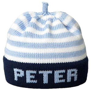 Personalized Knit Hat – blue stripe blue band