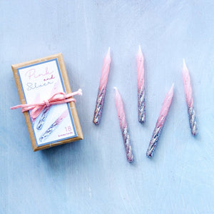 Silver/Pink Candles, Boxed
