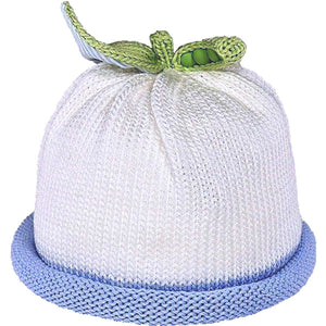 Sweet Pea Knit Hats White with Blue accent roll