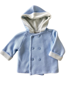 A Soft Idea, Cotton Double Breasted, Double Faced Seed Stitched Hoodie Blue/ Cream