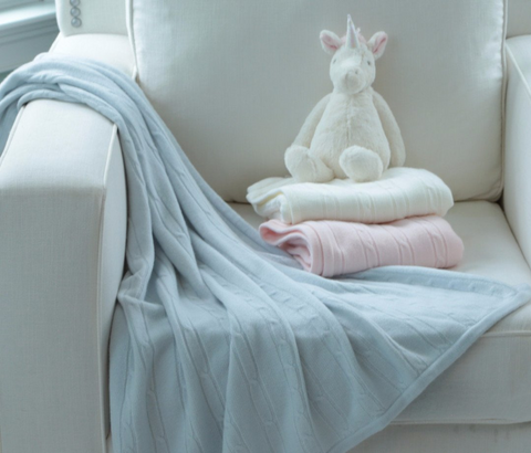 A Soft Idea Cashmere-like Cable Knit Blue Blanket 30x40