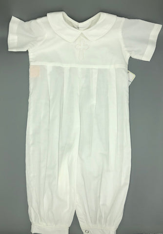 White Charles Boy Long Romper