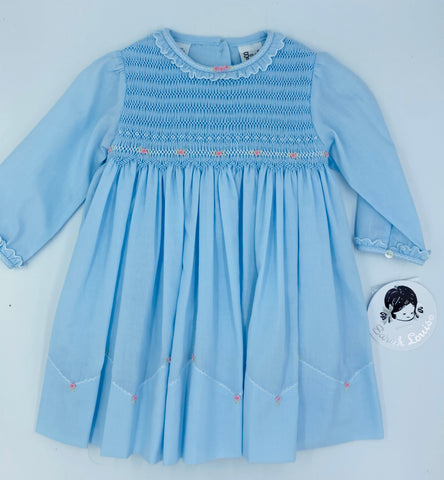 Sarah Louise Blue Smocked Dress with Pink Flowers