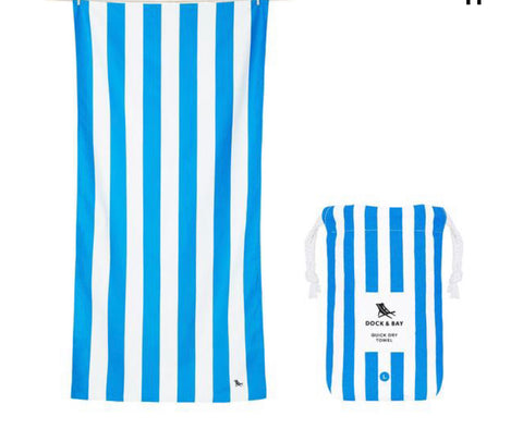 "Dock and Bay Quick Dry Towels - Striped Extra Large (78x35"") / Bondi Blue"