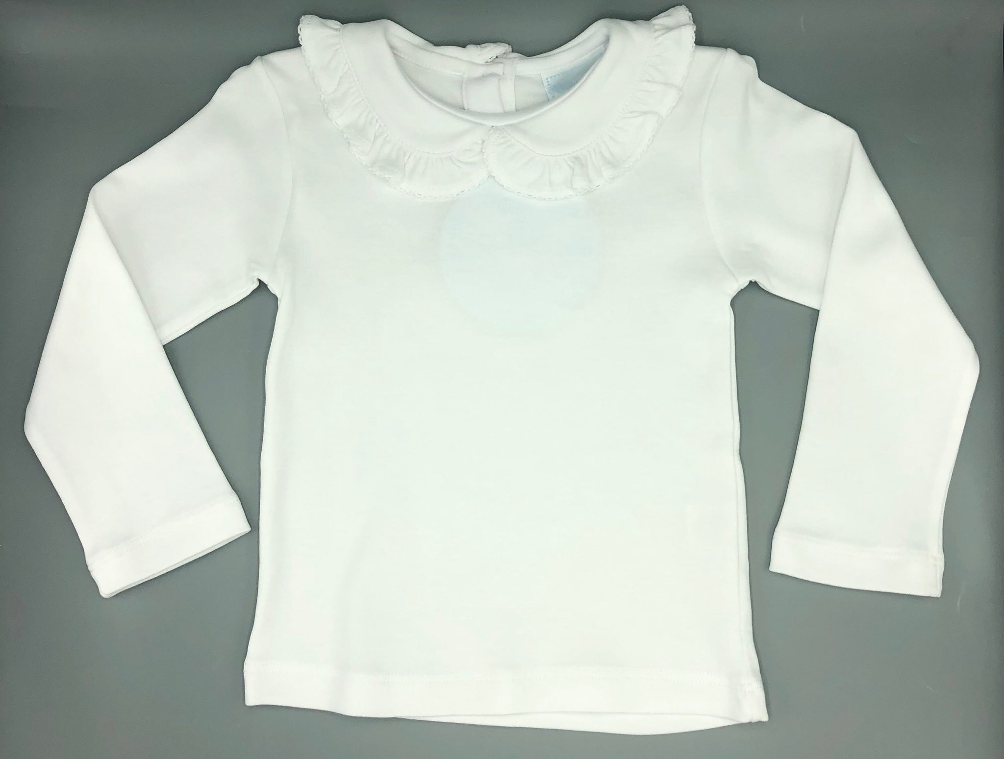 Little English- Ruffled Peter Pan Collared Blouse, white