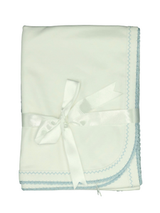 Squiggles Receiving Blanket White w/Blue Trim