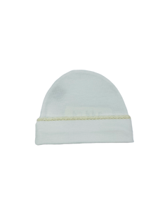 Squiggles Crochet Beanie- White w/ Ivory Trim