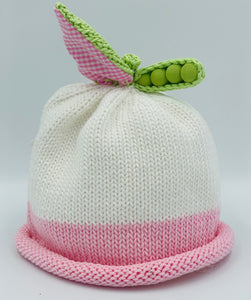 Sweet Pea Knit Hats White with Blue pink roll
