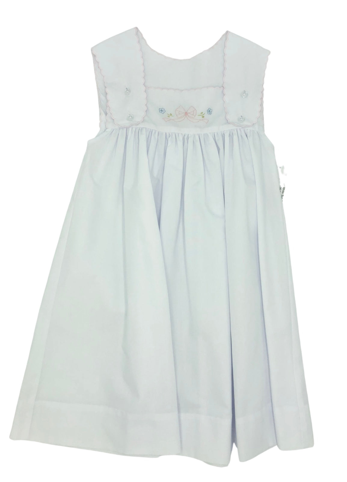 Auraluz White Sun Dress with Tiny Bows