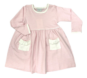 Squiggles Popover dress, pink stripe with white pocket