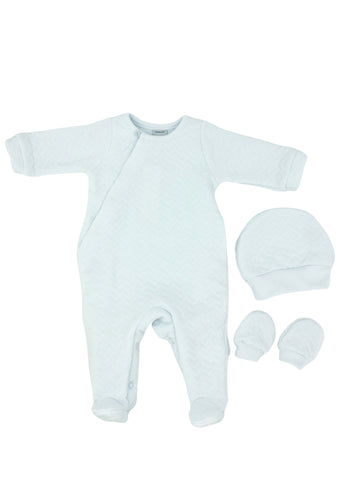 Babidu Sky Blue Zigzag Footie Set with Mittens and Hat