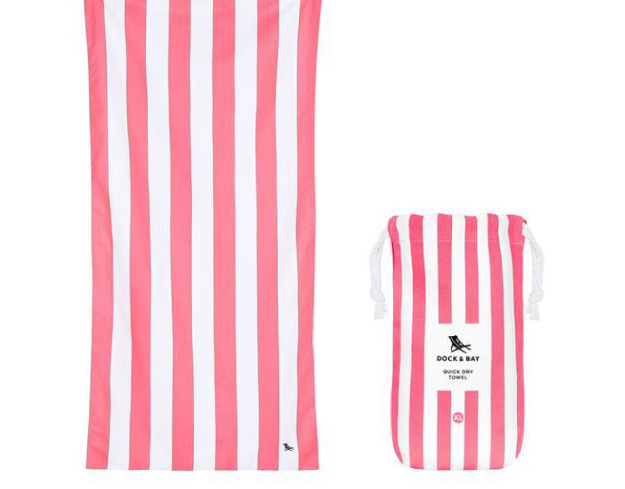 "Dock and Bay Quick Dry Towels- Striped Large (63x35"") / Kuta Pink"