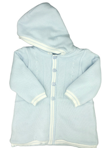 Dolce Goccia Blue Hooded Coat w/White Trim and Buttons Down the Front