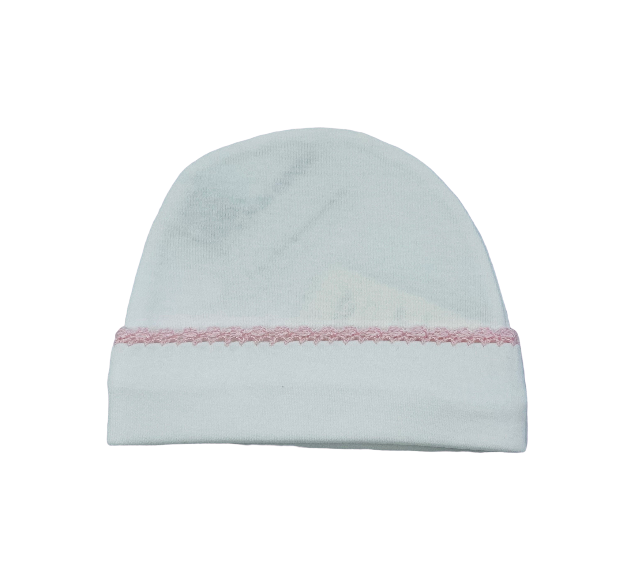 Squiggles Crochet Beanie- White w/ Pink Trim