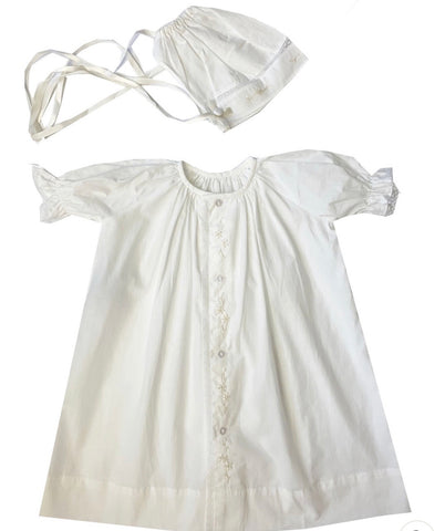 Lullaby Set White Vintage Daygown & Bonnet, Ecru Embroidered Flowers & Satin Ribbon
