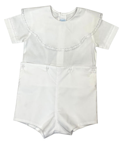 Auraluz Bodysuit, White with Lace, button on