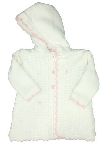 Dolce Goccia Girl White Hooded Coat w/Pink Trim Buttons Down Front