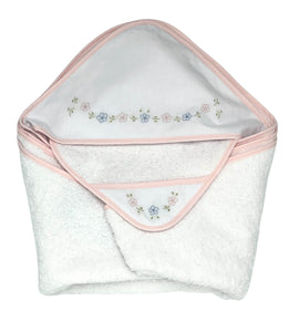 Auraluz Hooded Towel with Wash Cloth Set, White with Pink Flowers