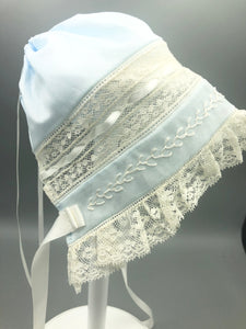 Nursery Rhymes Heirloom Laceband Bonnet Blue w/Featherstitching