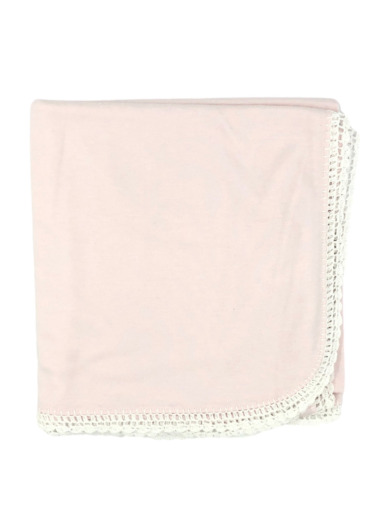 Auraluz Knit Blanket with White Lace Trim