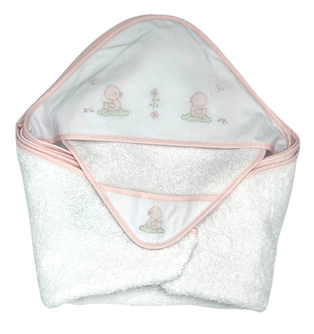 Auraluz Hooded Towel with Wash Cloth Set, White with Pink Ducks