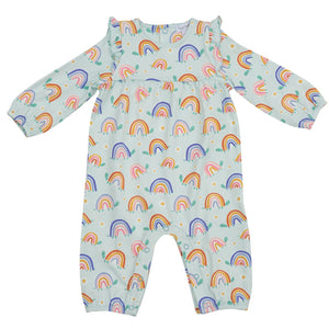 Angel Dear Rainbow Turtles Ruffle Sleeve Romper
