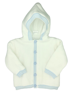 Dolce Goccia White Jacket w/Blue Trim and Blue Buttons Down Front