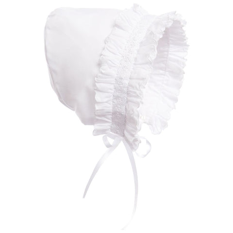 Sarah Louise White Bonnet with Smocking