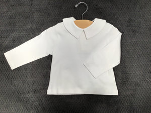 Petit Ami Pointed Peter Pan Basic White Long Sleeve