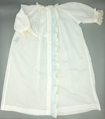 Nursery Rhymes Heirloom White Boy Gown w/Blue Ruffle