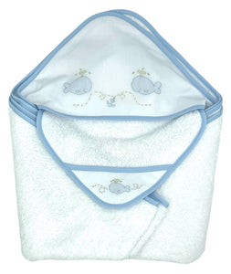 Auraluz Hooded Towel with Wash Cloth Set, White with Blue Whale