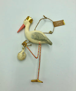 One Hundred 80 Degrees Royal Stork Ornament in Pink