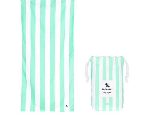 "Dock and Bay Quick Dry Towels - Striped Large (63x35"") / Narrabeen Green"