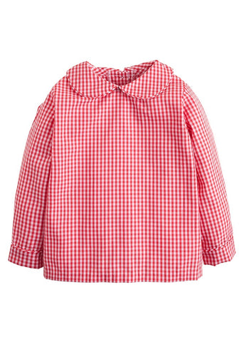 Little English Peter Pan Shirt Red Gingham