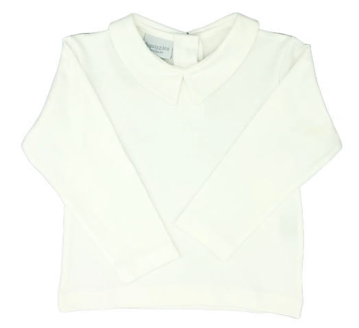Squiggles Boy Shirt w/Collar White