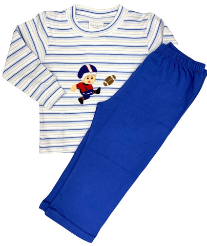 Squiggles Football Kicker LS Crewneck Shirt with Royal Blue Pants