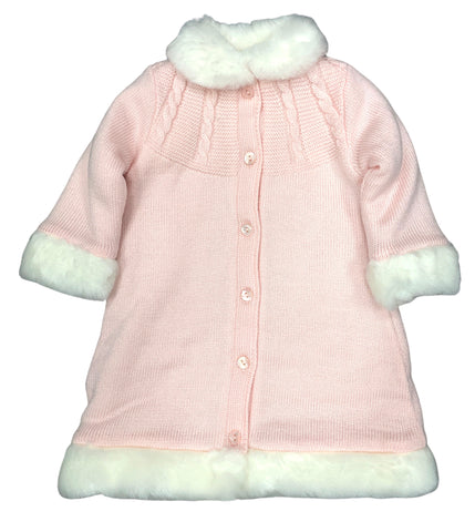 Sarah Louise Pink Coat w/Ivory Fur Trim