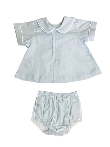 Lullaby Set Boy Blue with white diaper set (round collar)