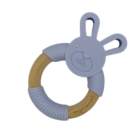 Chewable Charm- Bunny Silicone + Wood Teether, Lavendar